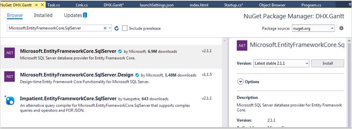 dhtmlxGantt with ASP NET Core Gantt Docs